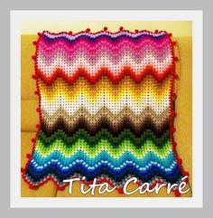 Tita Carré  Agulha e Tricot : Colcha Zig-Zag Multicolorida em crochet