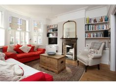 red and white living room Living Room Ideas Victorian Terrace, Victorian Terrace House, Victorian Houses, Home Living Room, Living Room Decor, Living Spaces, Dining Room, Sofa Layout, Front Rooms