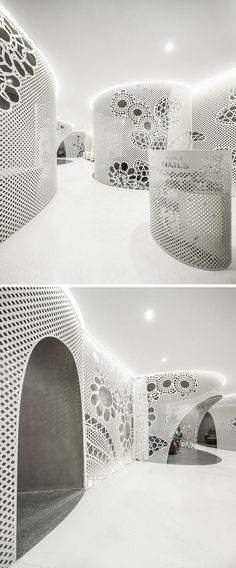 Stepping inside this modern nail salon and away from the noisy mall that it's located in, white walls create a sense of calm allowing guests to relax and enjoy themselves. Interior Architecture, Interior And Exterior, Interior Design, Modern Nail Salon, Dome House, Artistic Installation, Curve Design, Commercial Design, Wall Design