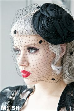 Black Birdcage Veil Red Lips Winged Liner Lace Dress And The Resting Face To Go With It All Gothmas Pinterest