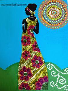 Casa Eglys: DIY: Cuadro en Puntillismo Mandala Painting, Dot Painting, Fabric Painting, Saree Painting Designs, African Art Paintings, Art Africain, Mandala Dots, Afro Art, Weaving Art