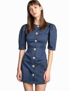 Pixie Market Mirabel Polka Dot Button Dress - S Navy Beige Maxi Dresses, Dresses Short, Trendy Dresses, Cute Dresses, Linen Shirt Dress, Belted Shirt Dress, High Fashion Dresses, Fashion Outfits, Women's Fashion