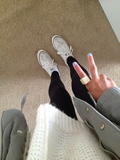Oversized sweater and converse shoes