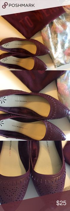Burgundy leather flats In good used condition. True to size. Isaac Mizrahi Shoes Flats & Loafers