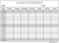Prepare your daily timetable using our printable class schedule template. Print weekly class schedule planner for children, college students, teachers. Class Schedule College, Study Schedule, College Classes, High School Classes, Class Schedule Template, Schedule Printable, Planner Template, School Template, Student Life