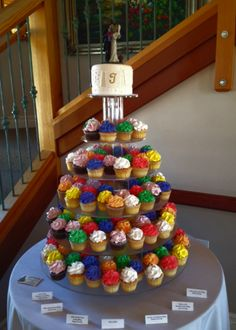 Windy City Cakery Colorful Wedding Cupcakes and Papel Picado.