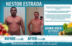"""I can honestly say I am worth so much because of my new understanding of the human body. What inspires me the most is being able to share this with as many people as possible. My transformation has inspired my friends to start their juicing adventure. All together as a group we have lost over 70 pounds. I am a new and improved Nestor. Thank You Ftilif.tv you have saved another human being…"" - Nestor Estrada"