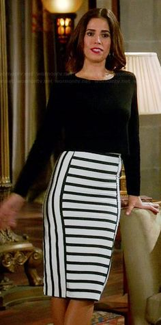 Marisol's black and white striped pencil skirt on Devious Maids. #DeviousMaids I NEED this and the yellow heels