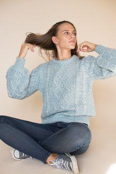 Multicolor Knit - Skyway by MAUD | VILLOID    perfect blue raglan sweater jumper pullover wool mohair Jumper, Turtle Neck, Pullover, Wool, Knitting, Sweaters, Blue, Fashion, Moda