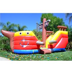 JumpOrange Pirate Ship Inflatable Bouncer, Commercial PVC Vinyl, with Blower (Pirate Theme Inflatable Bounce House), Blue Inflatable Bounce House, Inflatable Slide, Inflatable Bouncers, Backyard Water Parks, Inflatable Rentals, Backyard Birthday Parties, Bounce House Rentals, Play Shop, Pirate Theme