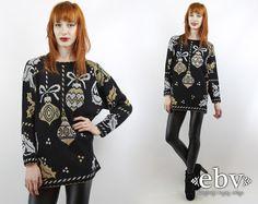 #Vintage #80s Black #Metallic #Christmas #Ornaments #Sweater, fits S/M/L by #shopEBV http://etsy.me/1DVHUCR via @Etsy #tackyxmas #xmas
