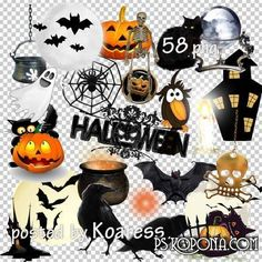 PNG clipart Halloween - ghosts, cats, skeletons, crows and pumpkins on transparent background