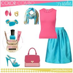 Here is the first triadic #outfit idea with skirt that you could wear for work or a girly chat Add light and warm shaded makeup like the golden eye liner, the pink lipgloss and the exciting but matching nail polish. Because of the fresh and warm shades I recommend this set for Spring seasonal color women. Clear Spring, Bright Spring, Spring Color Palette, Spring Colors, Seasonal Color Analysis, Pink Lip Gloss, Eye Liner, Season Colors, Colour Images