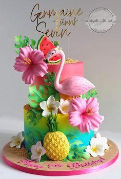 Hawaiian Theme Cakes, Luau Cakes, Hawaiian Party Decorations, Pool Party Cakes, Luau Theme, Hawaii Birthday Party, Summer Birthday, Luau Birthday Cakes, 19th Birthday
