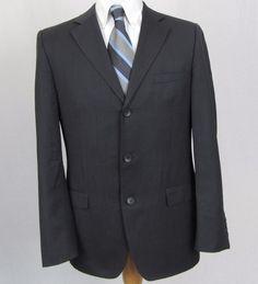 Gucci Men's Blazer 40R Slim 100% Wool Gray Vented Three Button Sport Coat E23 #Gucci #ThreeButton