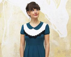 "Elegant Dress""Florence"", petrol and offwhite on Etsy, $159.00"