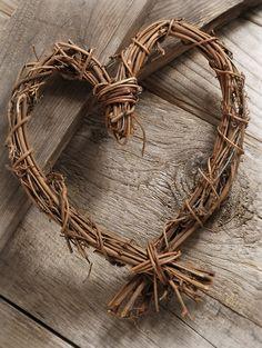 """Natural Grapvine Wreath 8"""" Heart $5 each"""