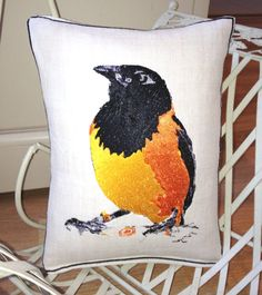 Vintage Linen Becky the Bird Embroidery Art Throw by LMDSimplyBe, £44.66