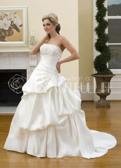 $475.99 Satin #Ball #Gown Strapless Ruffles Bridal #Dress With Beaded Bust