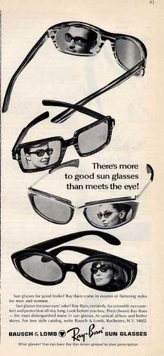 Ray-Ban sunglasses advertisement, 1965.