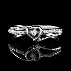 "1/6 Ct 14K Gold Heart Promise Ring ""Mother\'s Day Gift"". Starting at $89"