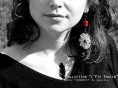 Collection HIVER 2014-2015 / L'Eté Indien de ZAELLEZA / Boucles d'oreille CHEROKEE #cuir #dentelleancienne #broderieperle #eteindien #zaelleza