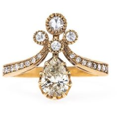 Find Victorian Vintage Inspired Engagement Ring At T&H ($6,200) ❤ liked on Polyvore featuring jewelry, rings, horn jewelry, engagement rings, vintage inspired ring, victorian jewellery and victorian jewelry