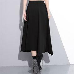 Women Maxi Skirt High Waist A Line Long Front Slit Darkness Black Half Body Wear Irregular Split Fashion Tide 2020 High Waist Jeans, High Waisted Skirt, Womens Maxi Skirts, Cheap Skirts, Pants For Women, Clothes For Women, Elastic Waist, Casual Dresses, Midi Skirt