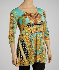 Take a look at this Gold & Turquoise Status Dot Tunic - Plus by White Mark on #zulily today!