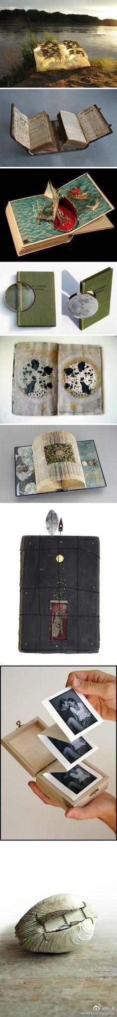 Libros Experimentales                                                                                                                                                      Más Tunnel Book, Paper Book, Paper Art, Altered Book Art, Book Sculpture, Book Journal, Art Journals, Book Projects, Objet D'art