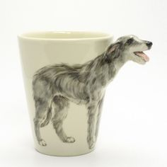Irish Wolfhound Dog Ceramic Mug Hand Painting Crafts Decor 0001