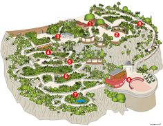 Map of the Exotic Garden of Monaco  1  Giant Flowering Succulents  2  Panoramic Viewpoints  3  Shop  4  Huge 'Cereus'  5  Cereus Alley  6  Grusonii Valley  7  A cool spot  8  An underground cathedral  9  Mediterranean ambiance