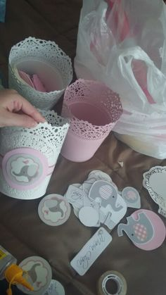 Centerpieces for baby shower #elephant #babygirl