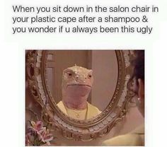 12/23/15 . . . when you sit down in the salon chair. But at least I had my favorite stylist behind me!