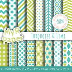 "With #love by @myrpaper #pattern #design #printable #download #papercraft  #digitalpaper #scrapbooking   Geometric Digital Paper Pack: ""Turquoise & Lime"" geometric patterns for scrapbooking, invites, cards - printable - Backgrounds di MyRpaper su Etsy"