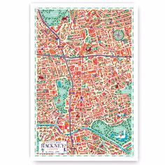 Walk With Me  Hackney Map: A vibrant illustrated Map of Hackney, London by artist Clémence Pollet. Depicting the dynamic district with her distinctive blend of real and fantasy. Based in Hackney Clémence Pollet studied in Paris where she specialised in illustration and engraving. Walk With  Me was founded by Pablo Baqué with the aim to create a map with fresh perspectives of a cities neighbourhood. All prints are sent rolled in a tube.