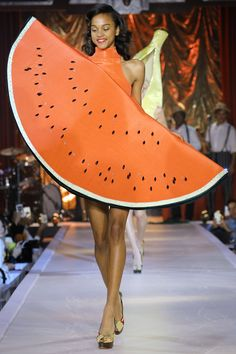 Charlotte Olympia RTW London Spring 2017 ~ watermelon dress.   http://www.vogue.com/fashion-shows/spring-2017-ready-to-wear/charlotte-olympia