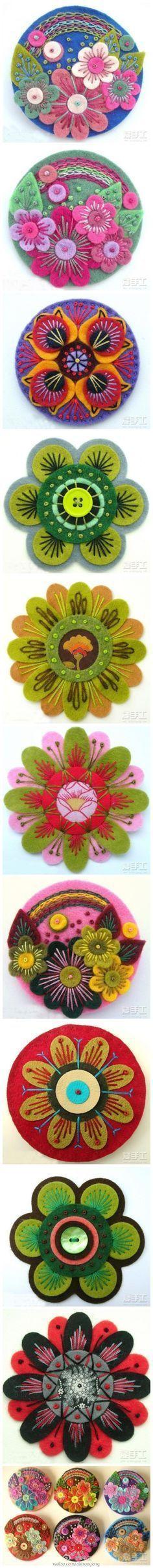 I love wool felt embroidery Fabric Art, Fabric Crafts, Sewing Crafts, Sewing Projects, Sewing Art, Art Projects, Felt Diy, Felt Crafts, Felt Flowers