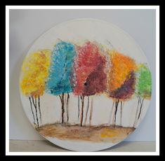 Impressionist Trees is a vibrant painting that shows the trees in different colors which gives the art great depth. Vinyl Record Art, Vinyl Wall Art, Modern Art Paintings, Original Paintings, Impressionist Art, Impressionism, Nursery Artwork, Cross Art, Colorful Trees
