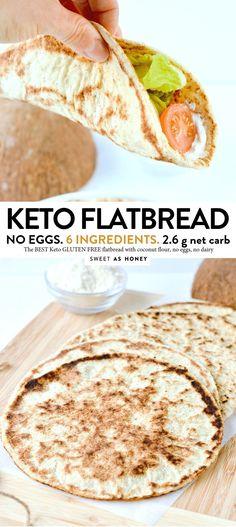Coconut Flour flatbread - vegan + keto tortillas - Sweetashoney - KETO FLATBREAD NO eggs, Coconut flour, 4 ingredients - Low Carb Bread, Low Carb Keto, Low Carb Recipes, Diet Recipes, Cooking Recipes, Bread Recipes, No Flour Recipes, Bread Diet, Keto Fat