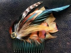 Vintage large feather hair comb on suede,new never worn-Ringneck Pheasant, Rooster Hackles & Coque feathers,antique button accent by BrimMakers on Etsy Rooster Feathers, Pheasant Feathers, Coque Feathers, Large Feathers, Feather Hat, Wool Berets, Tribal Fusion, Feathered Hairstyles, Hair Comb