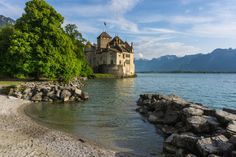 Medieval Fortress, Famous Poems, Lake Geneva, Castle Rock, Switzerland, Europe, Mansions, Country, Architecture