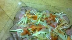 Roast beef Primavera. Roast beef with vegetables.