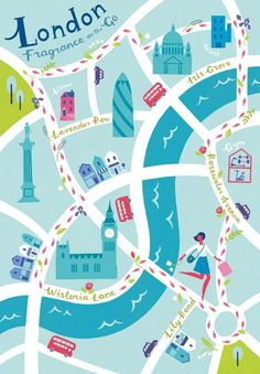 London illustration by Lucy Davey. Is London a town of perfume? Jo Malone probably says yes. London illustration by Lucy Davey. Is London a town of perfume? Jo Malone probably says yes. London Illustration, Travel Illustration, Travel Maps, Travel Posters, London Map, London Poster, London Blue, Country Maps, City Scene