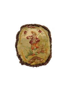 French Antique Aubusson Needlepoint Pillow, 19th c