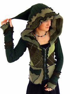 Green Pixie Zippy hOOdie  ReCyCleD Sweater  SMALL von Fairytea