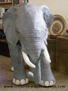 Paper mache baby elephant by Creative Paper Mache... I think I want to make a giraffe.