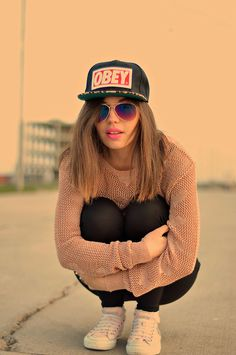 Obey Hat, Atmosphere Blouse, Converse - Do you approve of this casual look? - Blanche Mandl