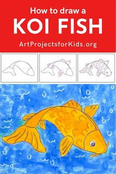 Draw a Koi Fish · Art Projects for Kids Art Lessons For Kids, Art For Kids, Fish Coloring Page, Let's Make Art, Animal Art Projects, Fish Drawings, Art Folder, Watercolor Projects, China Art