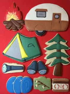 Camping cookies~ By artibee, #, tree, campfire, camp trailer, green, Brown